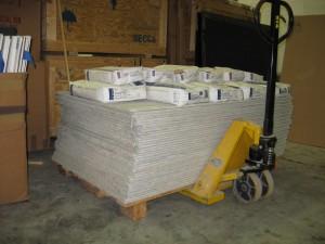 Tile backer awaits installation