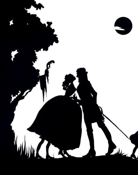 """Kara Walker, """"Gone, An Historical Romance of a Civil War as it Occurred between the Dusky Thighs of One Young Negress and Her Heart [detail],"""" Cut paper original and templates w/signed certificate, 1994"""