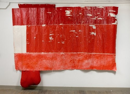 "Rodney McMillian, ""Untitled (flag),"" Mixed media, acrylic on un-stretched canvas, fabric, grommets, 2006-2008"